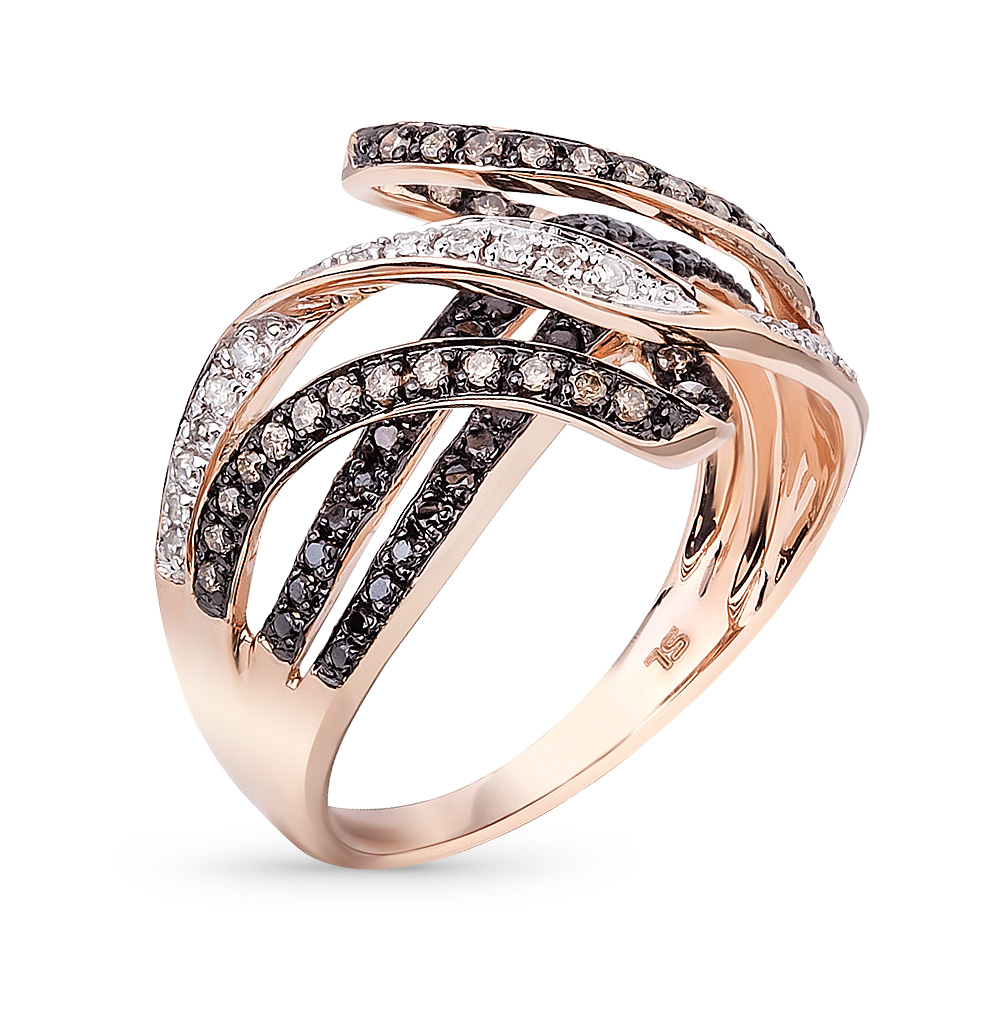 Фото «золотое кольцо с чёрными, коньячными и белыми бриллиантами и фианитами»