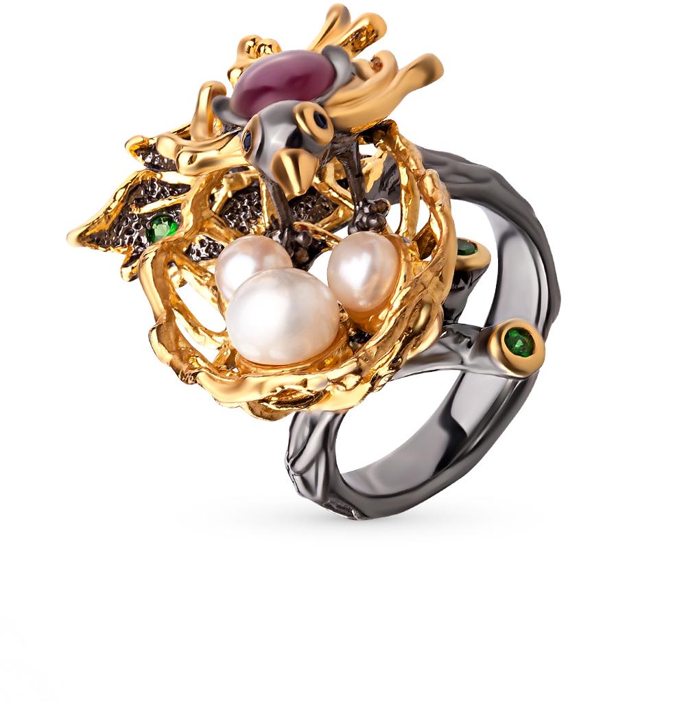 Фото «серебряное кольцо с рубинами, сапфирами и цаворитами»
