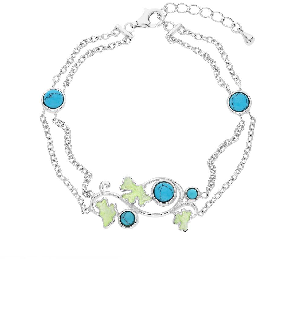 Фото «серебряный браслет с бирюза имитациями, бирюза и эмалью»