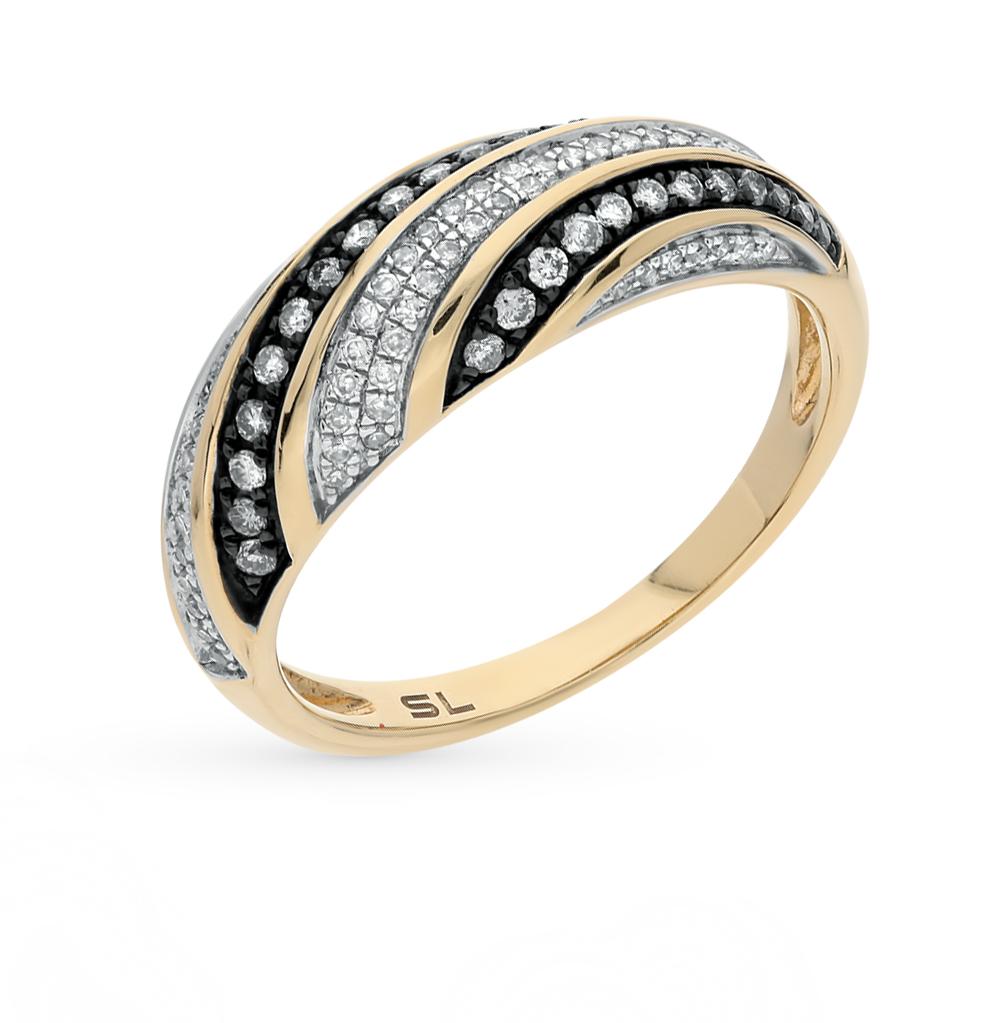 Фото «золотое кольцо с бриллиантами, сапфирами синтетическими и фианитами»