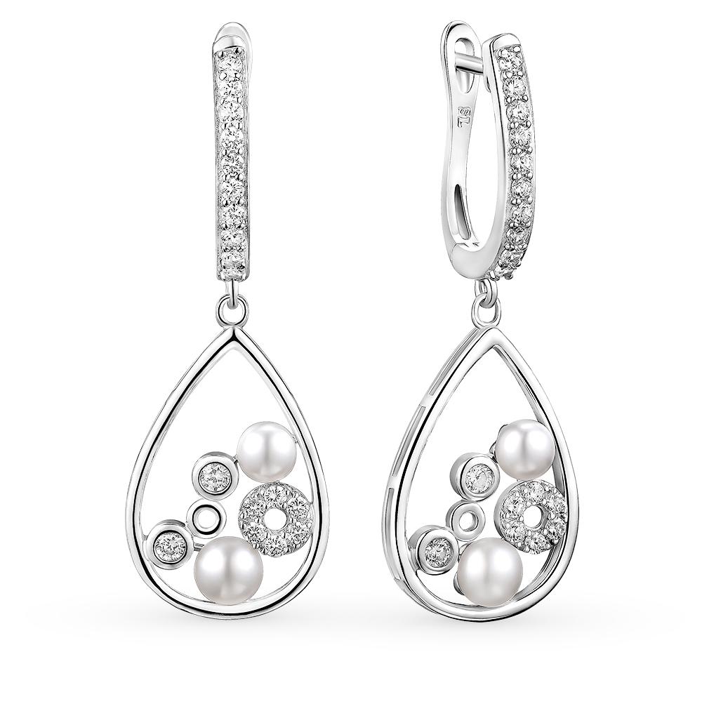 Фото «серебряные серьги с фианитами и жемчугами»