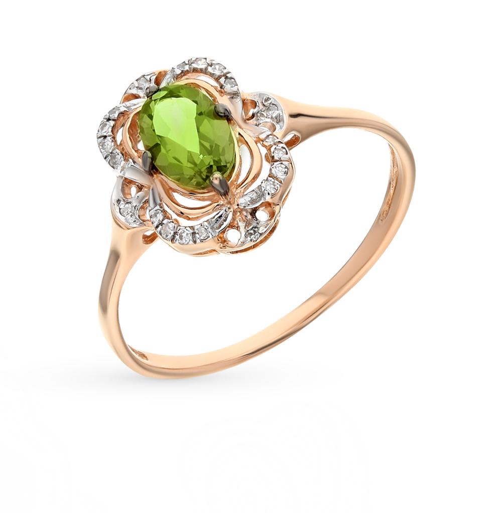 Фото «золото кольцо с бриллиантами и султанитами синтетическими»
