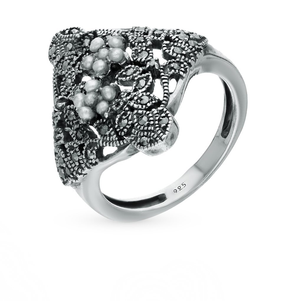 Фото «кольцо с марказитами и жемчугами»
