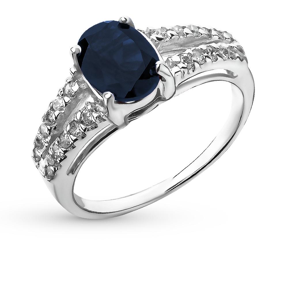 Фото «серебряное кольцо с шпинелями, фианитами и сапфирами»