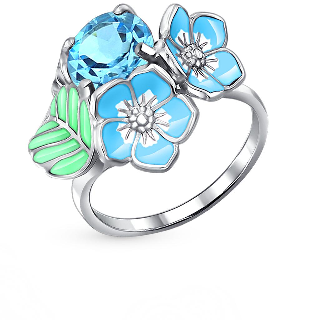 Фото «серебряное кольцо с топазами и эмалью»