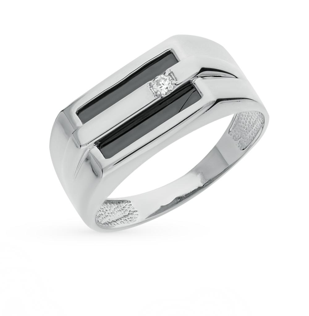 Фото «кольцо с фианитами и ониксом»