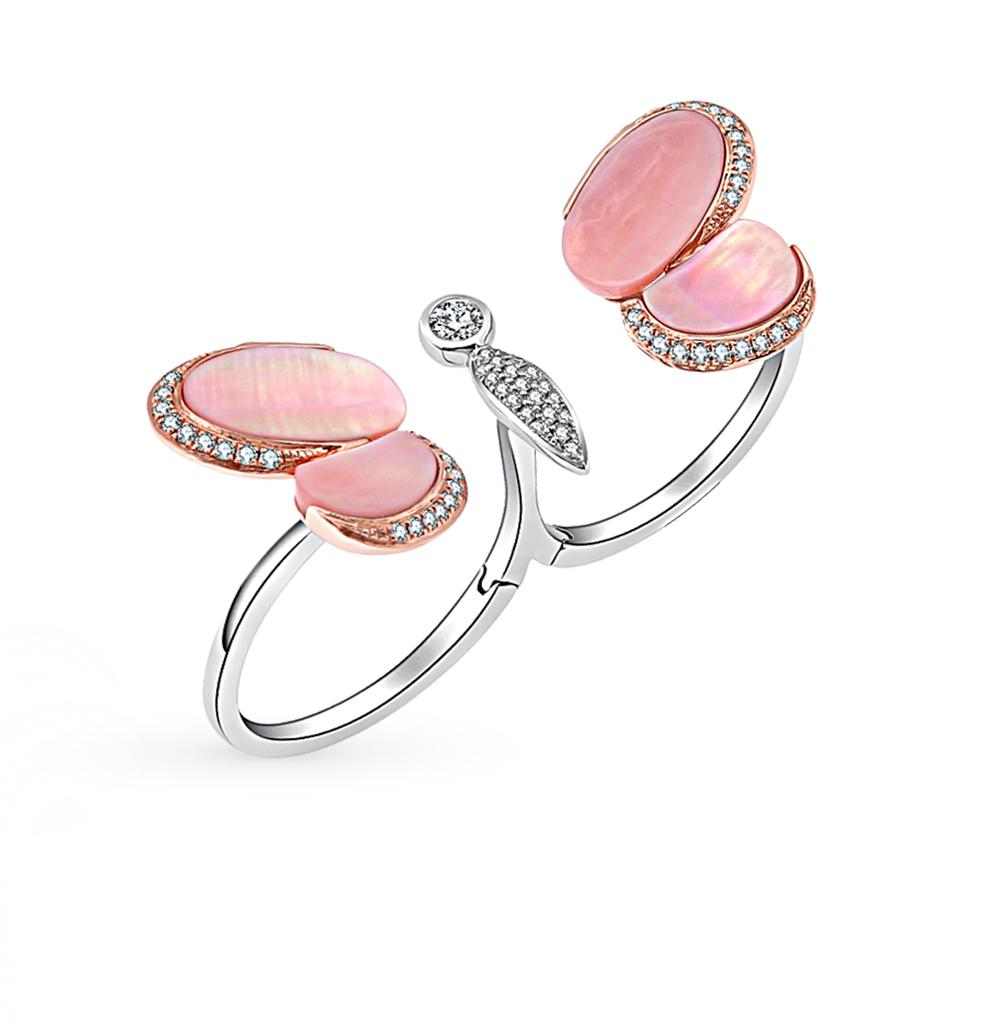 Фото «золотое кольцо с бриллиантами и перламутром»