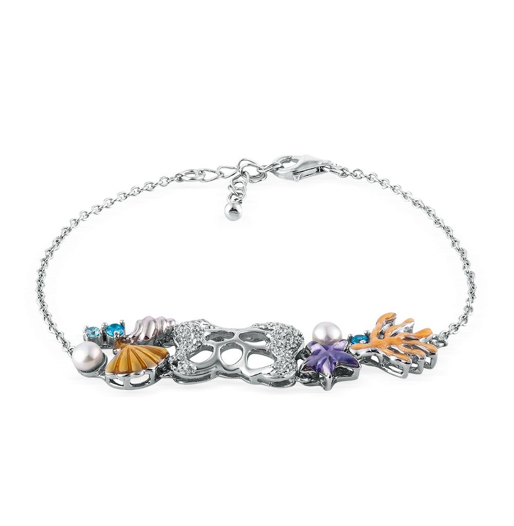 Фото «серебряный браслет с фианитами, эмалью и жемчугом»
