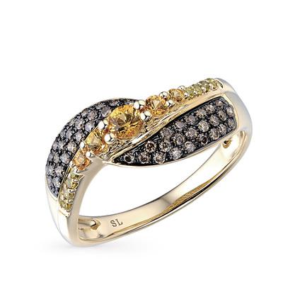 Фото «золотое кольцо с коньячными и белыми бриллиантами и сапфирами»