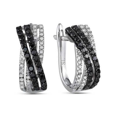 Фото «золотые серьги с чёрными и белыми бриллиантами»