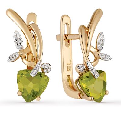 Фото «золотые серьги с хризолитом и бриллиантами»