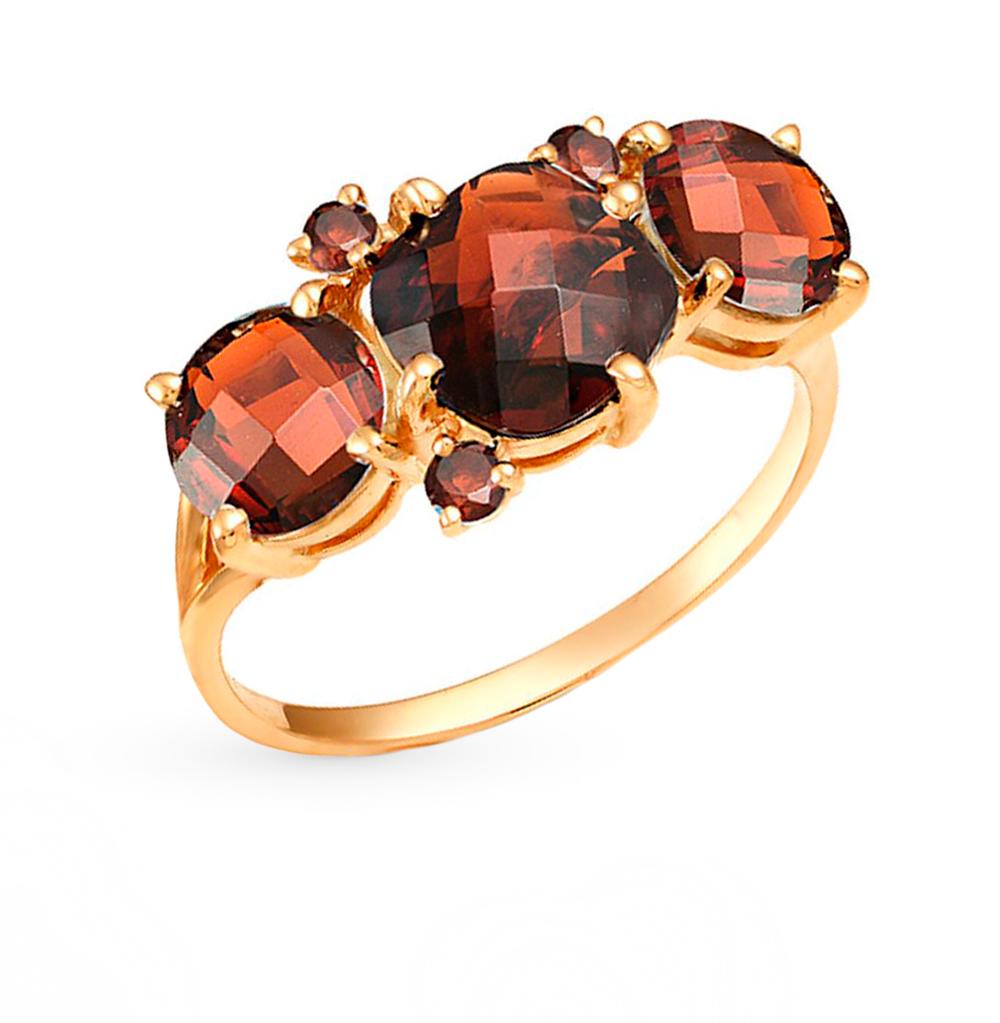 Фото «серебряное кольцо с аметистом, гранатом, топазами, кристаллами swarovski и бриллиантами»
