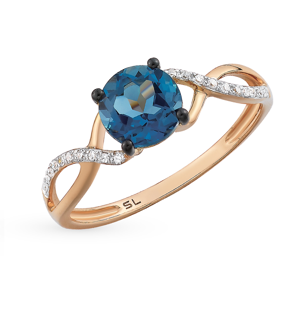 Фото «золотое кольцо с топазами и бриллиантами»