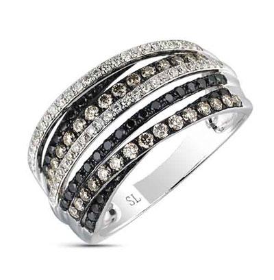 Фото «золотое кольцо с коньячными, чёрными и белыми бриллиантами»
