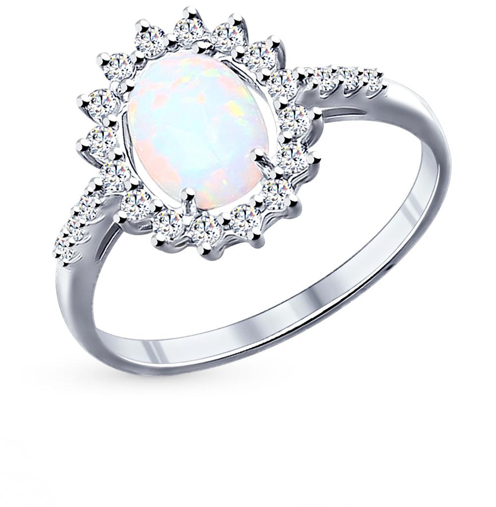 Фото «серебряное кольцо с фианитами и опалами синтетическими»