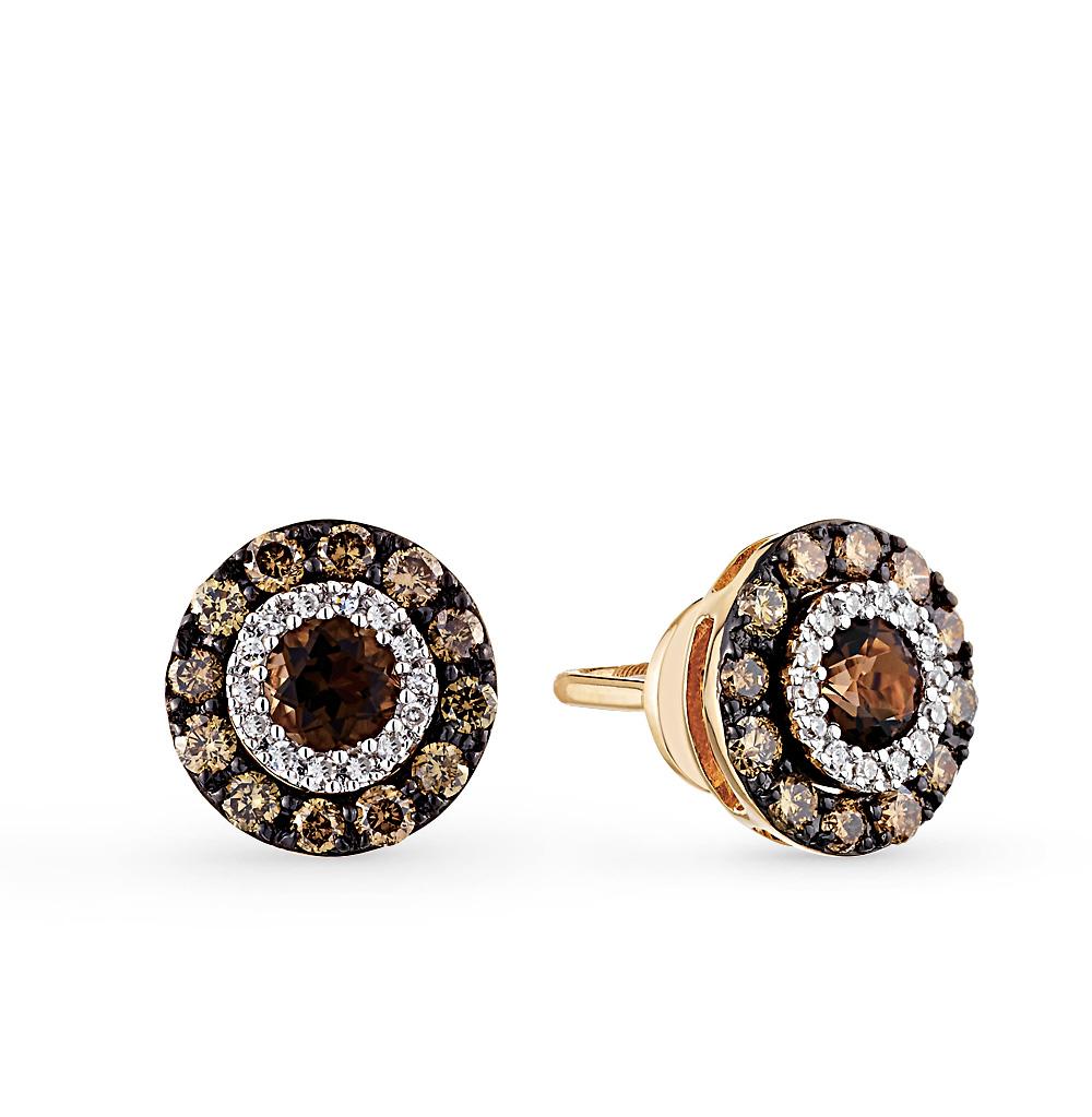 Фото «золотые серьги с коньячными бриллиантами, раухтопазами (кварцами дымчатый) и бриллиантами»