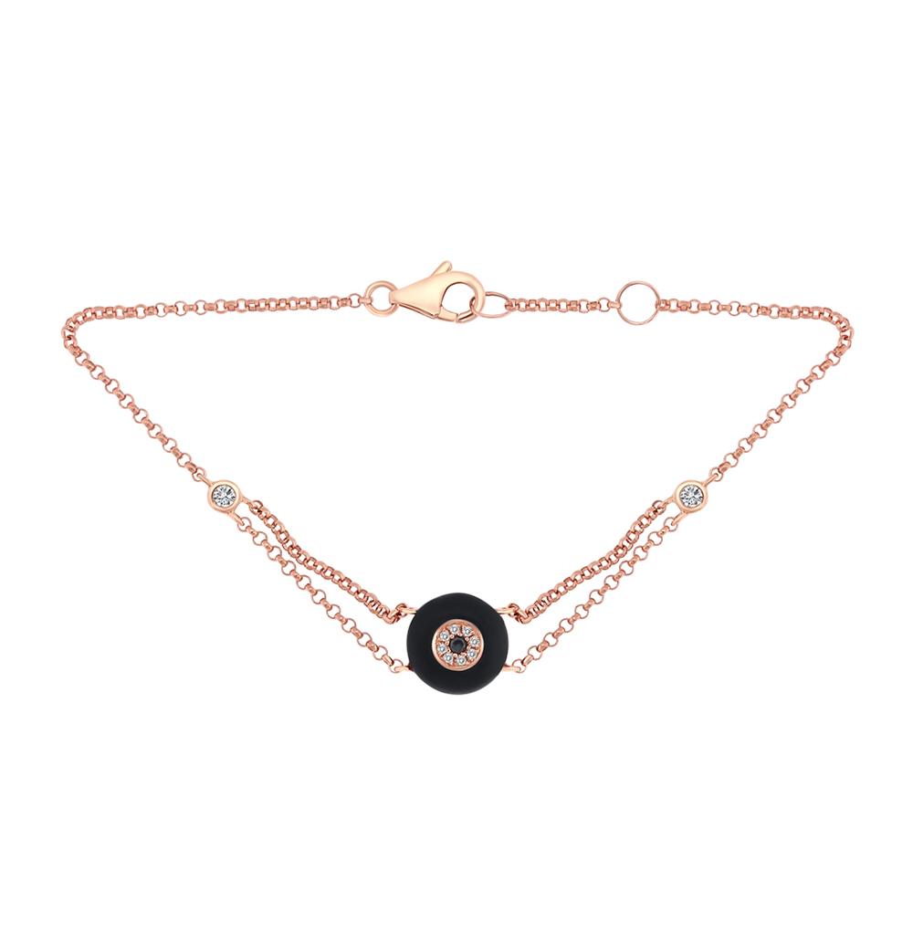 Фото «золото браслет с чёрными и белыми бриллиантами и ониксом»