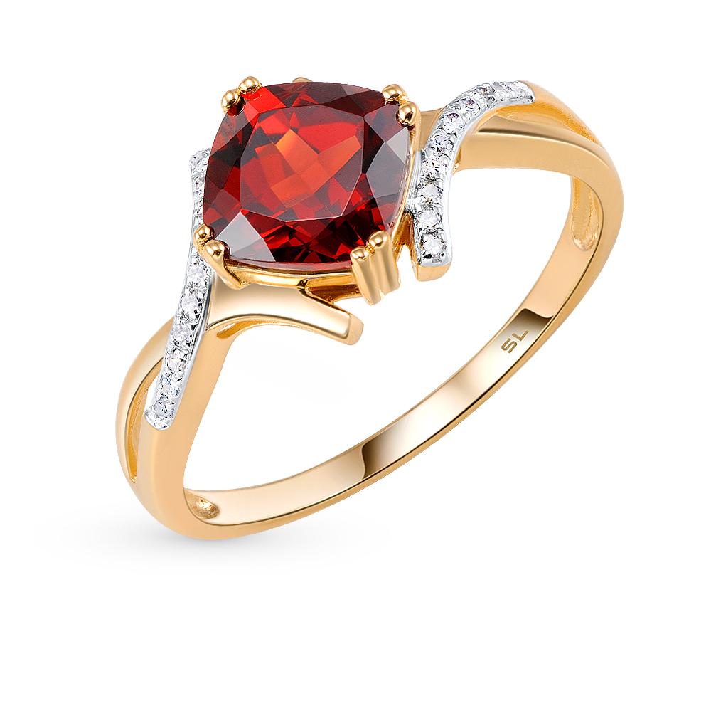 Фото «золото кольцо с гранатом и бриллиантами»