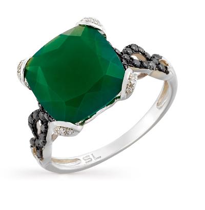 Фото «золотое кольцо с чёрными и белыми бриллиантами и агатами»