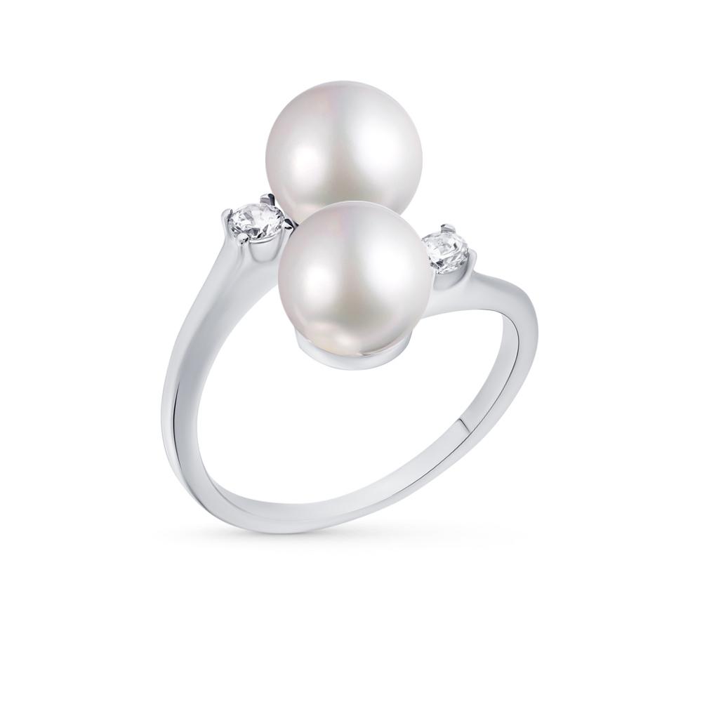 Фото «серебряное кольцо с фианитами, жемчугом и жемчугами имитациями»