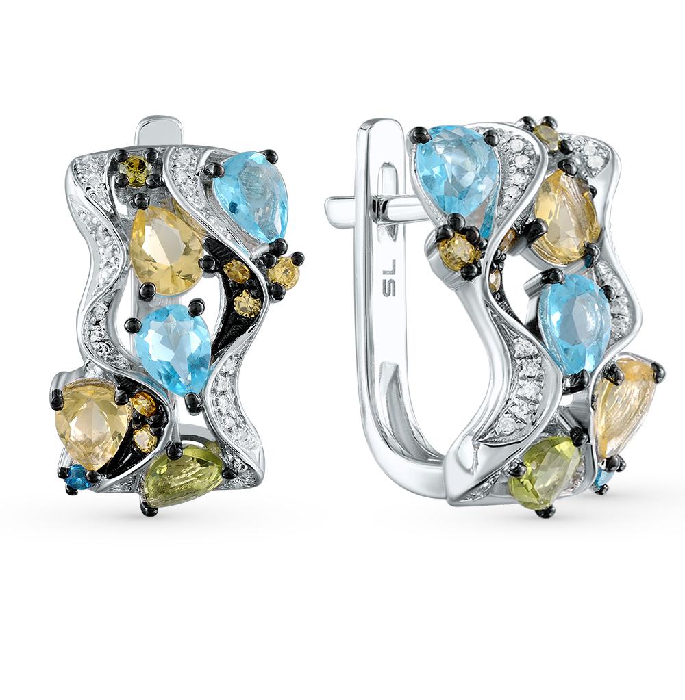 Фото «золотые серьги с бриллиантами, цитринами, топазами и хризолитами»