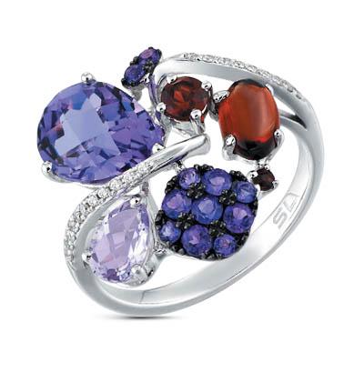 Фото «золотое кольцо с бриллиантами, аметистами и гранатами»