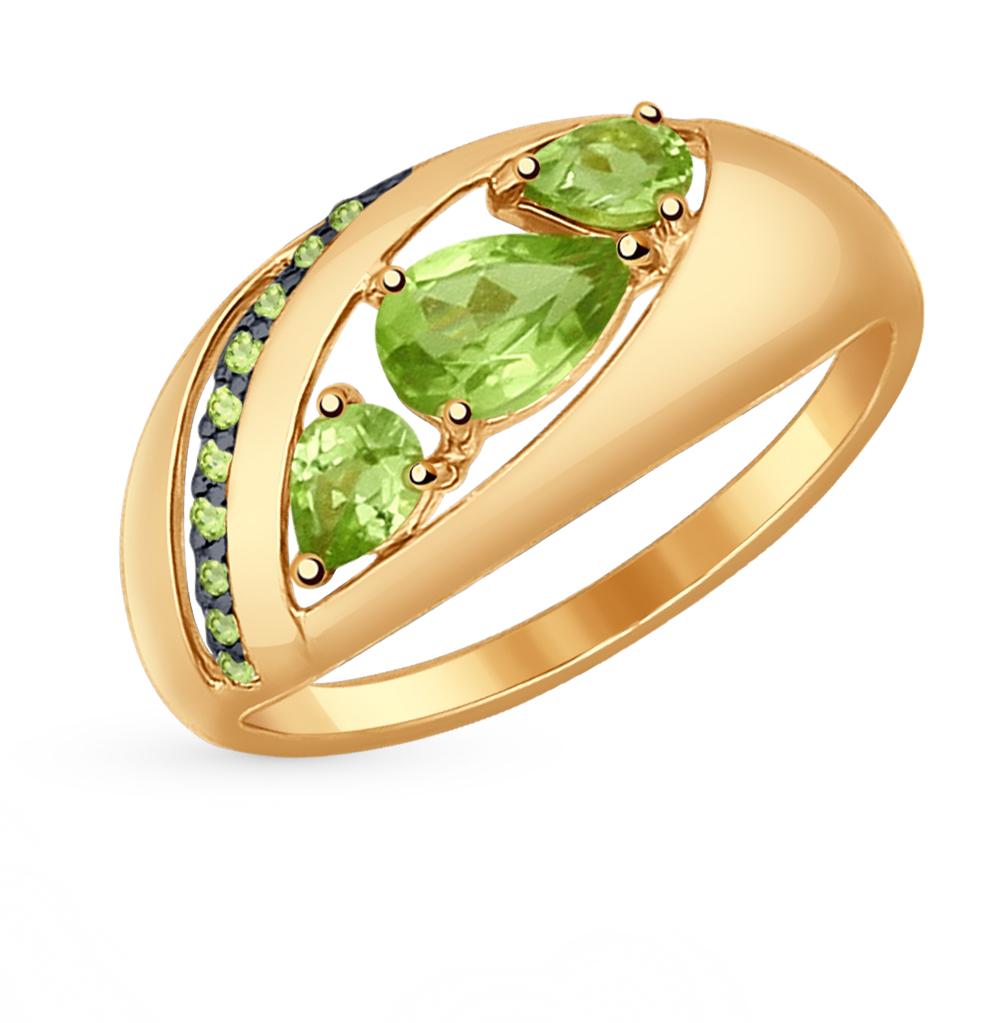 Фото «серебряное кольцо с бирюза имитациями, фианитами и хризолитами»