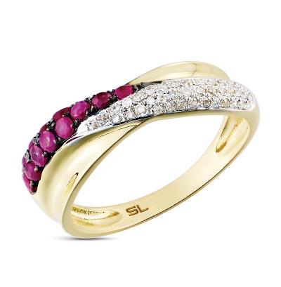 Фото «серебряное кольцо с бриллиантами, опалами синтетическими, топазами, фианитами и рубинами»