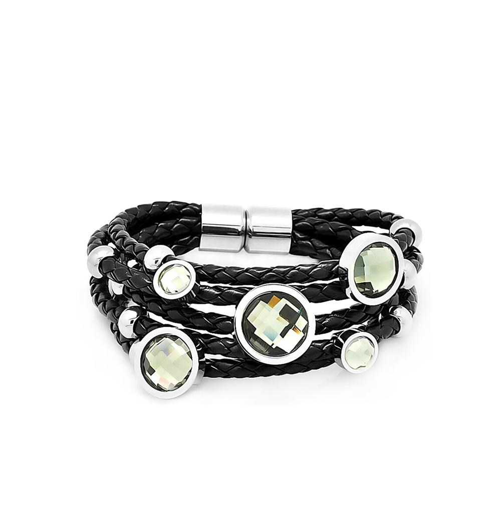 Фото «кожаный браслет с алпанитом и со сталью»