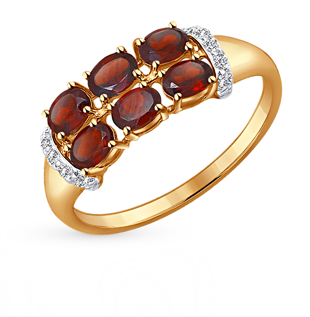 Фото «золотое кольцо с бриллиантами, гранатами, фианитами и изумрудами»