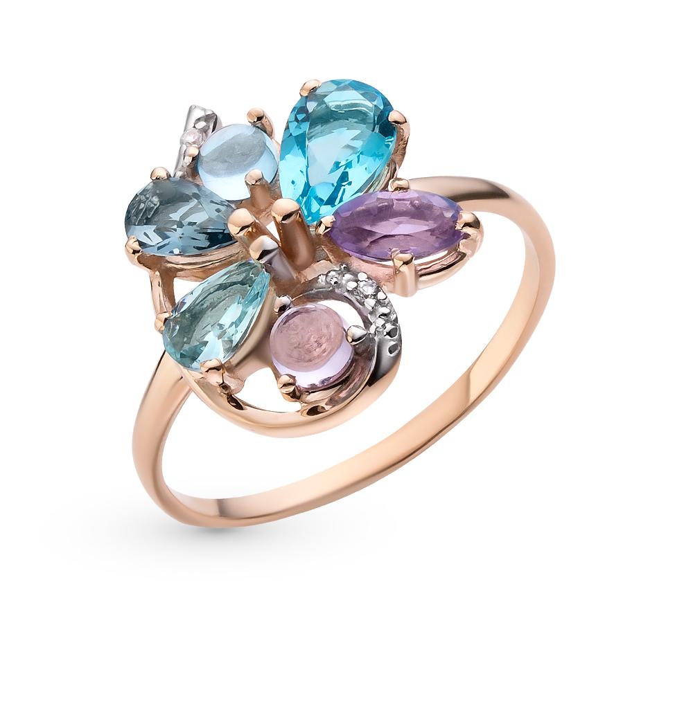 Фото «золотое кольцо с аметистами, топазами и фианитами»