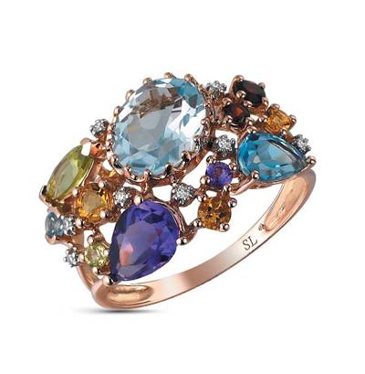 Фото «золотое кольцо с бриллиантами, аметистами, гранатами, топазами, цитринами и хризолитами»