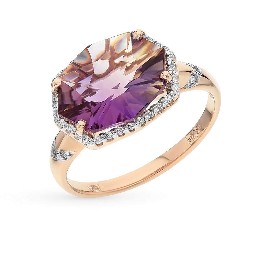 Фото «золотое кольцо с аметриными и фианитами»
