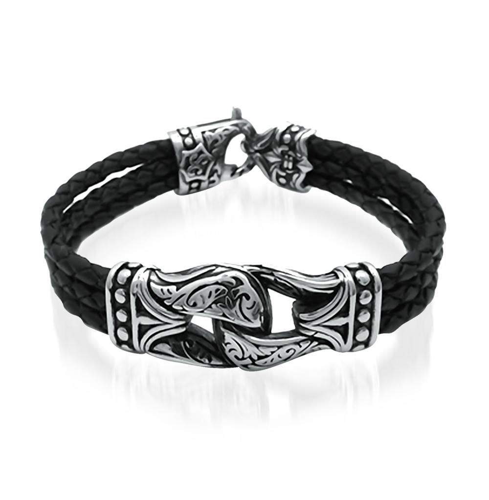 Фото «браслет из кожи и стали с сталью и эмалью»