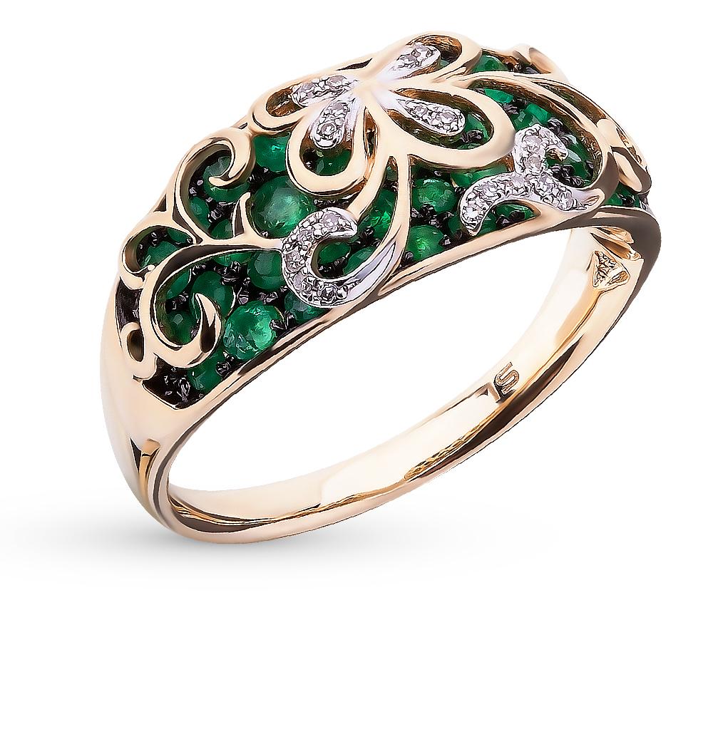 Фото «серебряное кольцо с бриллиантами, фианитами и изумрудами»