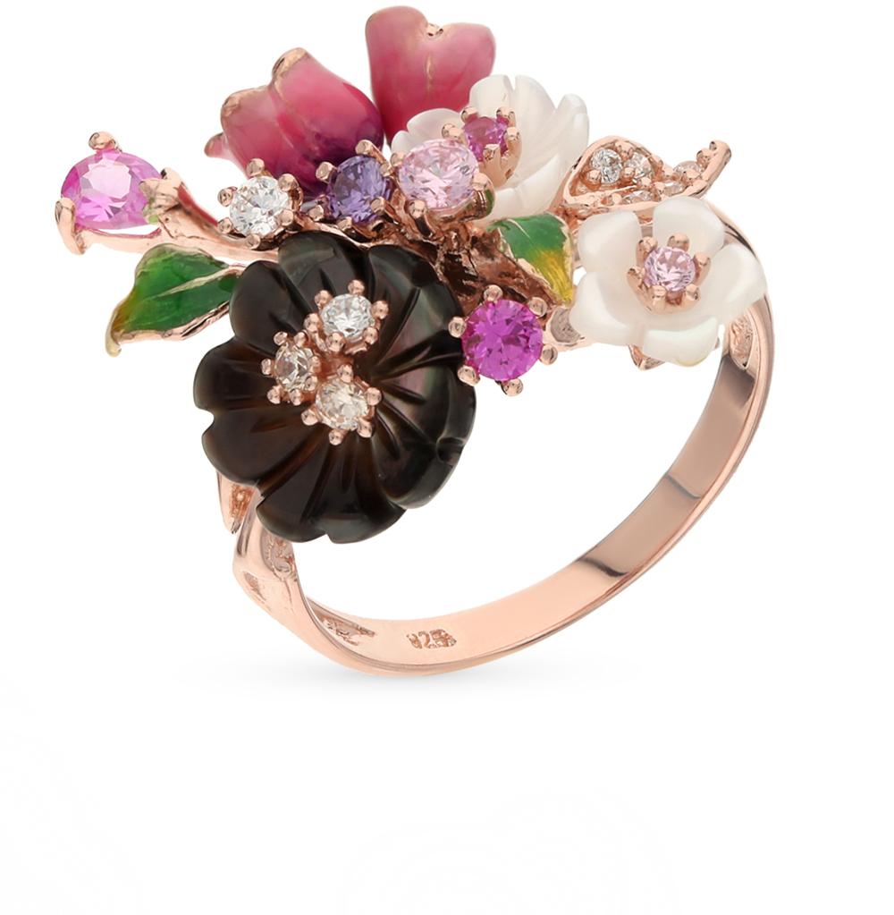 Фото «серебряное кольцо с перламутром, фианитами и сапфирами синтетическими»