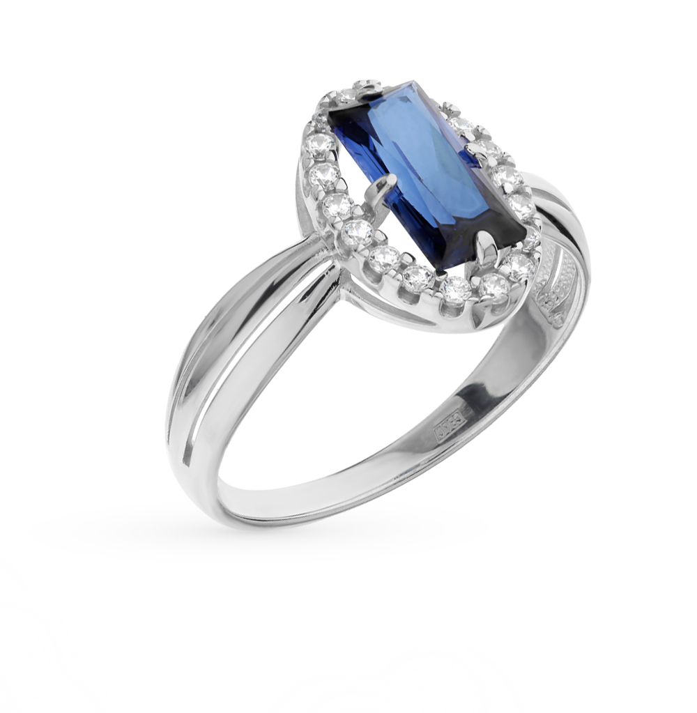 Фото «серебряное кольцо с корундами и фианитами»