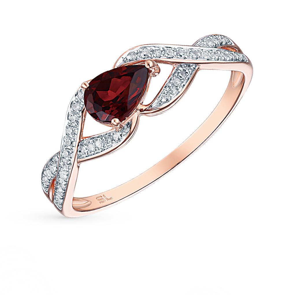 Фото «кольцо с бриллиантами и гранатами»