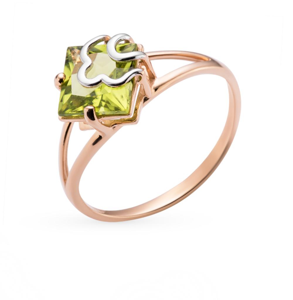 Фото «золотое кольцо с фианитами и хризолитами»