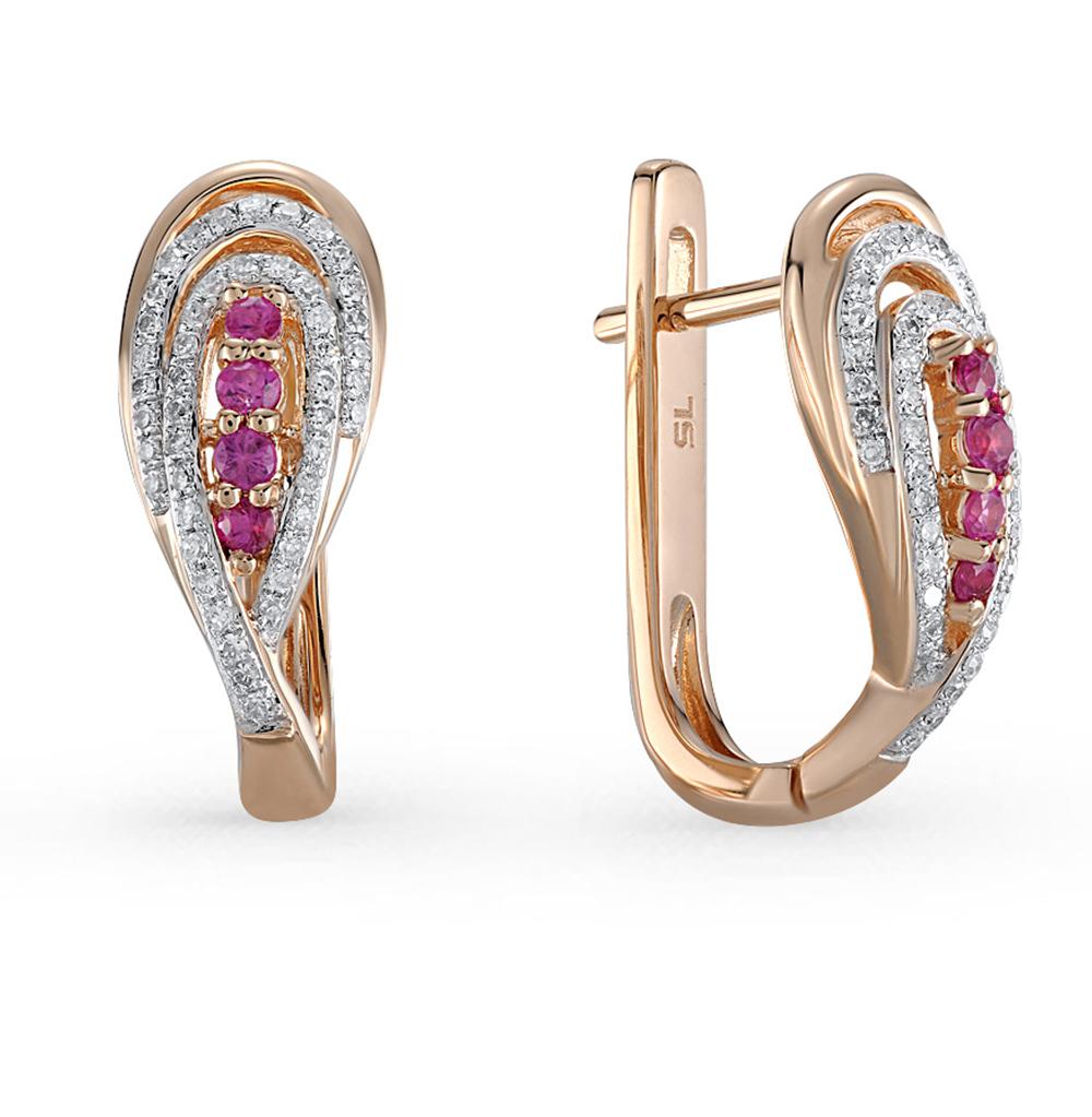 Фото «золотые серьги с бриллиантами и сапфирами»