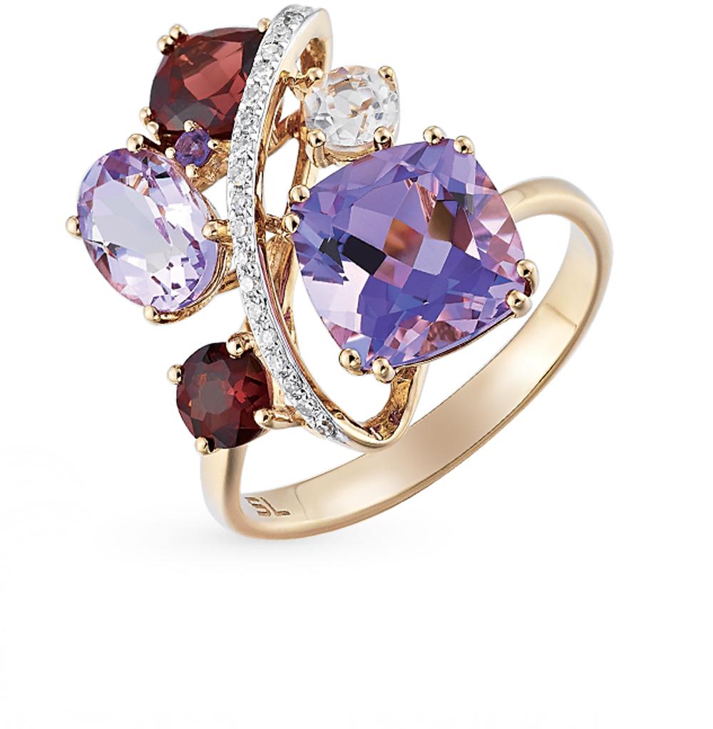 Фото «золотое кольцо с аметистом, гранатом, кварцем и бриллиантами»