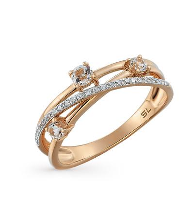 Фото «золотое кольцо с бриллиантами, топазами и перламутром»