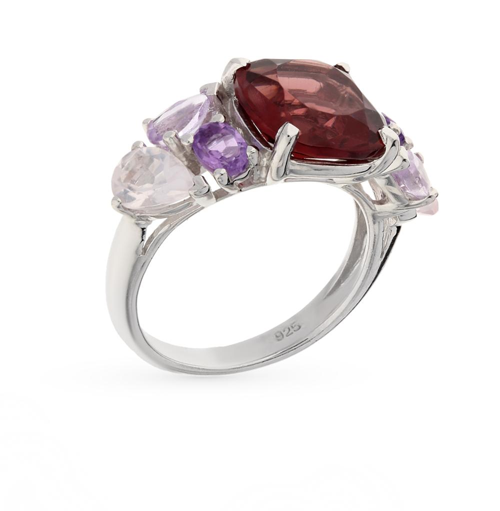 Фото «серебряное кольцо с аметистами синтетическими, кварцами и родолитами синтетическими»