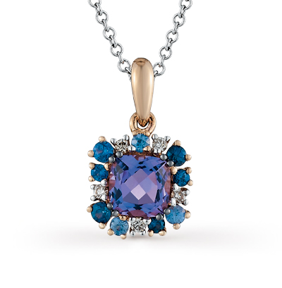 Фото «золотая подвеска с бриллиантами, аметистами и сапфирами»