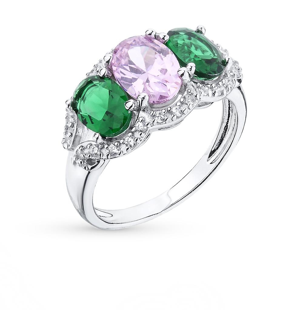 Фото «серебряное кольцо с изумрудами и сапфирами»