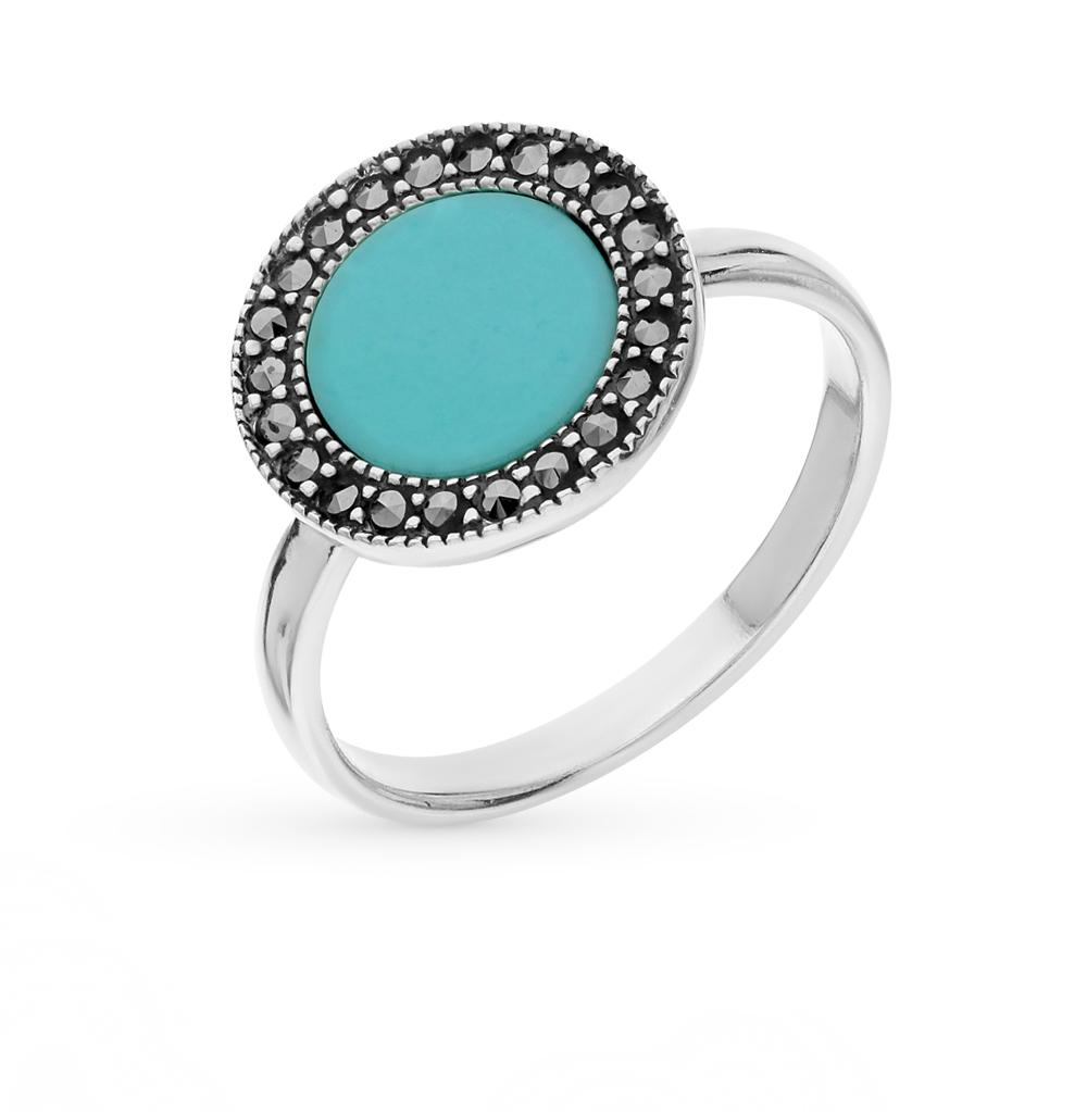 Фото «серебряное кольцо с марказитами и бирюза»