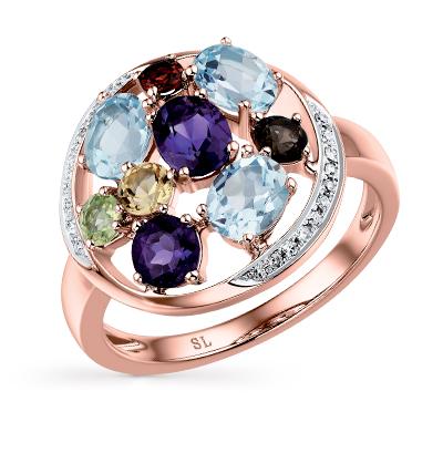 Фото «золотое кольцо с аметистом, гранатом, цитринами, кварцем, топазами и хризолитом»