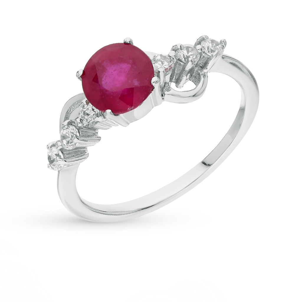 Фото «серебряное кольцо с фианитами и рубинами»
