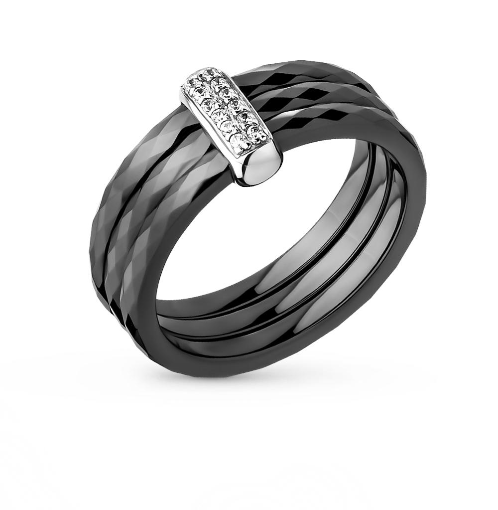 Фото «кольцо из керамики, золота, золота, золота и золота с серебром, фианитами, сапфирами и бриллиантами»