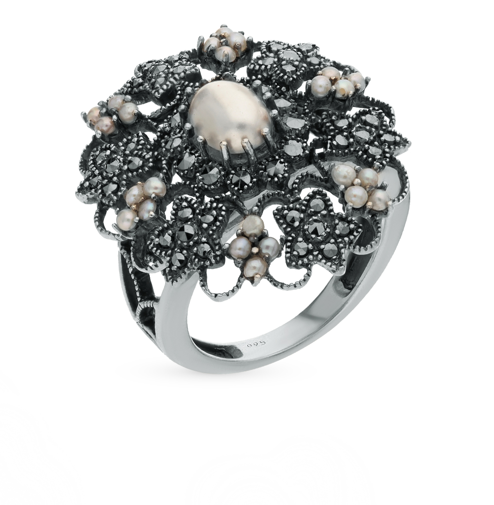 Фото «серебряное кольцо с марказитами и жемчугом»